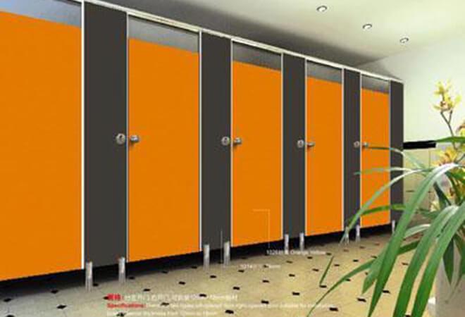 vách ngăn vệ sinh compact màu cam